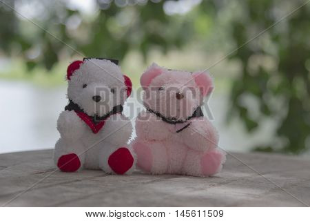 Toy teddy bear Background bokeh. Cute teddy bear
