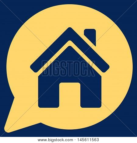 House Mention icon. Vector style is flat iconic symbol yellow color blue background.