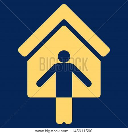 House Owner Wellcome icon. Vector style is flat iconic symbol yellow color blue background.