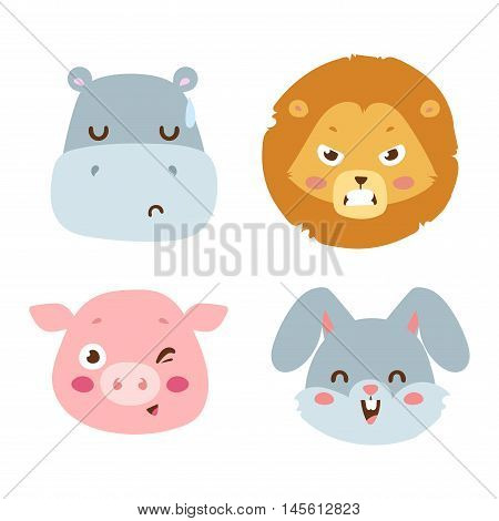 Cute animals head emotions vector avatar. Cartoon happy animal emotion expression isolated face character. Adorable mammal emojji avatar animal emotions. Animal icon characters