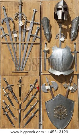 Toledo Spain - August 28 2016: Armor knives and swords. Toledo is historically known for its production of medieval steel weapons