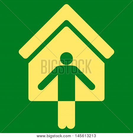 House Owner Wellcome icon. Vector style is flat iconic symbol, yellow color, green background.
