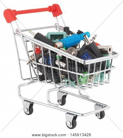 Switches and connectors in shopping cart. Object is isolated on white background without shadows.