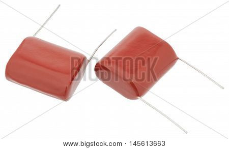 Metal film capacitors isolated on white background without shadows