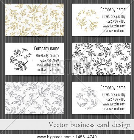 Vector set of business cards templates with abstract leaves background.