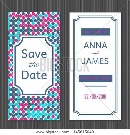 Modern Wedding invitation with an abstract pink and blue design.