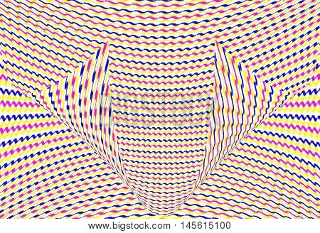 Colorful optical illusion Zig zag lines blue red and yellow