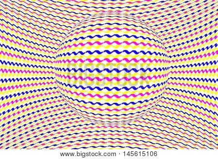 Colorful sphere optical illusion. Zig zag lines yellow blue and red