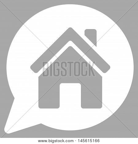 House Mention icon. Vector style is flat iconic symbol, white color, silver background.