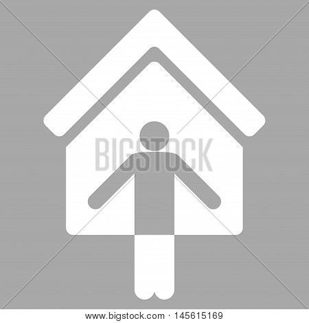 House Owner Wellcome icon. Vector style is flat iconic symbol, white color, silver background.