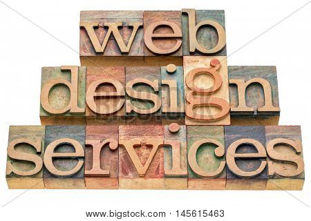web design services banner in letterpress wood type printing blocks isolated on white