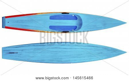 top and bottom of a racing stand up paddleboard in brushed carbon layout isolated on white with a clipping path
