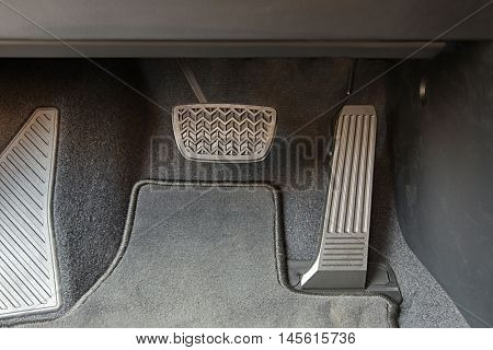 Pedals of a car with automatic transmission gearbox