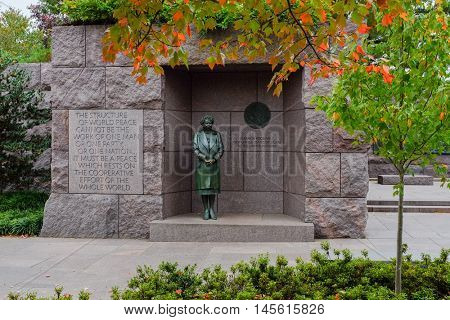 WASHINGTON DC, USA - NOVEMBER 9th : Eleanor Roosevelt at the Roosevelt Memorial on November 9th,2015 in Washington DC USA.
