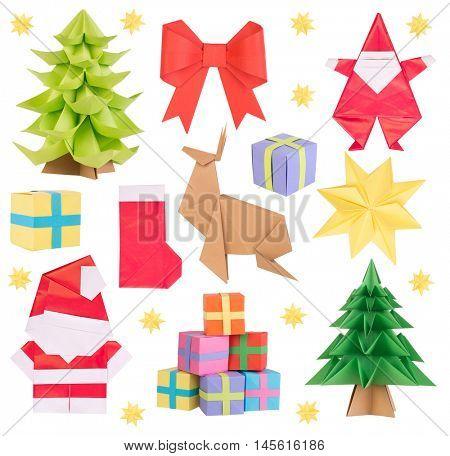 Christmas origami isolated on white background