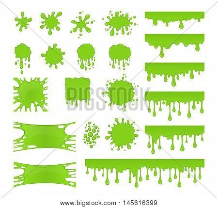 Slime vector set. Collection of blots splashes and smudges. Green liquid. Drops slime isolated on white background.
