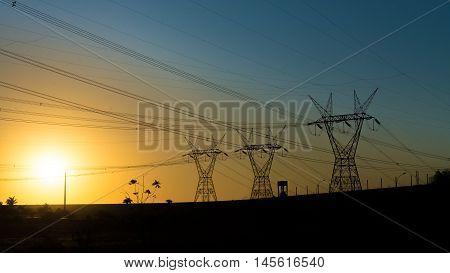 Power Lines At The Sunset Near Itaipu Dam