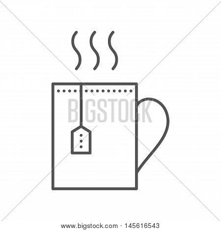 Cup With Hot Tea And Teabag. Mug Vector Flat Icon.
