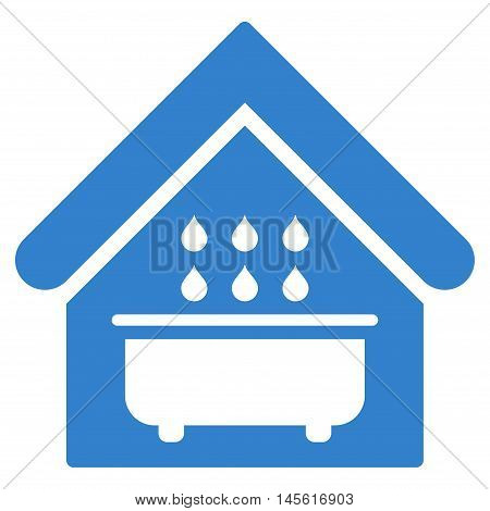 Bathroom icon. Vector style is flat iconic symbol, cobalt color, white background.