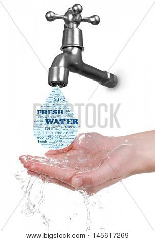 Conservation water concept. Metal faucet with water drop and female hands on white background.