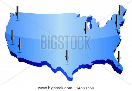 US-Karte zeigt Standorte