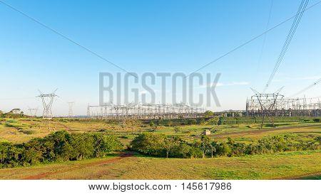 View Of The Itaipu Dam Power Lines