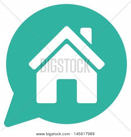 House Mention icon. Vector style is flat iconic symbol, cyan color, white background.
