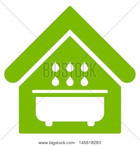 Bathroom icon. Vector style is flat iconic symbol, eco green color, white background.