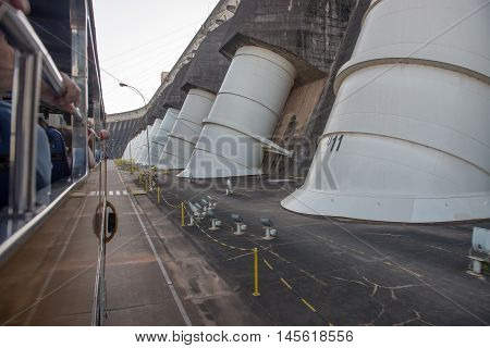 View Of The Itaipu Dam Giant Penstocks
