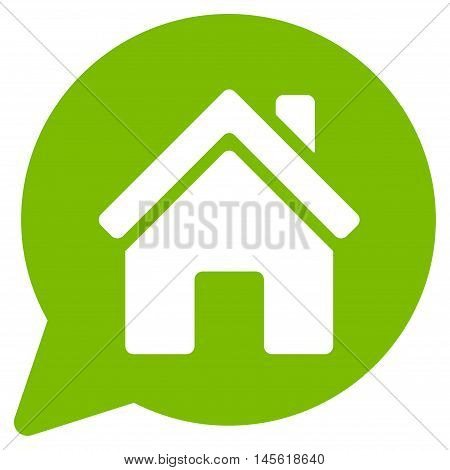 House Mention icon. Vector style is flat iconic symbol, eco green color, white background.