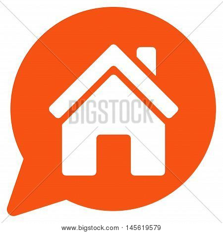 House Mention icon. Vector style is flat iconic symbol, orange color, white background.