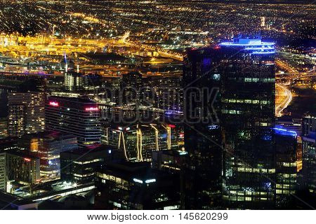 Aerial Nightscape Of Melbourne Cbd