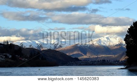 Lake Wakatipu from Kelvin Heights in winter. The Remarkables mountains in the background.