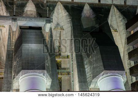 View Of The Illuminated Itaipu Dam Giant Penstocks