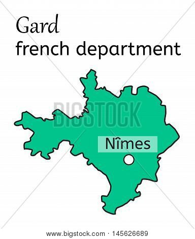 Gard french department map on white in vector