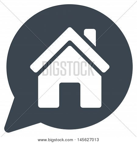 House Mention icon. Vector style is flat iconic symbol, smooth blue color, white background.