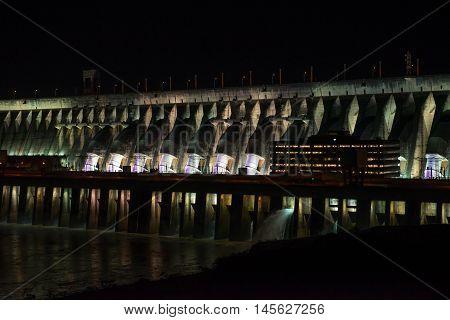 View Of The Illuminated Itaipu Dam Giant Barrage