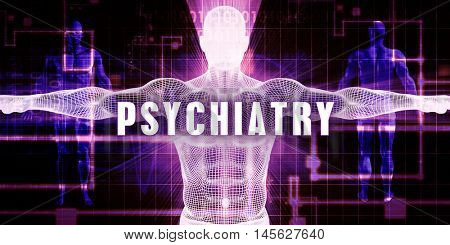 Psychiatry as a Digital Technology Medical Concept Art 3D Illustration Render