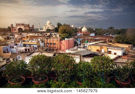 Taj Mahal View From Rooftop Restaurant In India