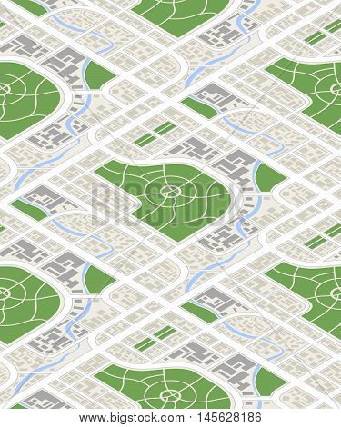 Detailed map of the city in isometric view, seamless pattern