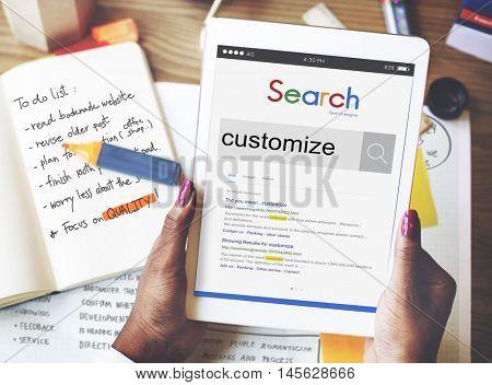 Customize Modify Create Adjust Concept