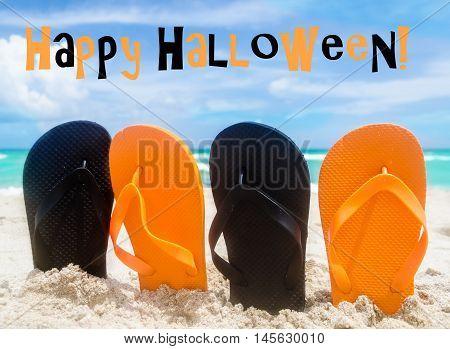 Ocean Halloween background with black and orange flip flops