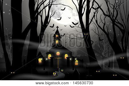 Haunted house with pumpkin in foggy forest in full moon