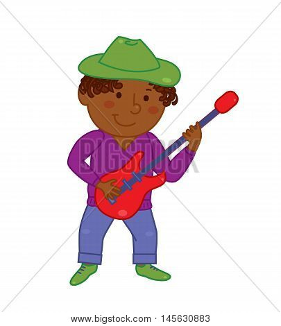 Cartoon musician kid. Vector illustration for children music. Boy isolated on white background. Cute school musical student clip art.