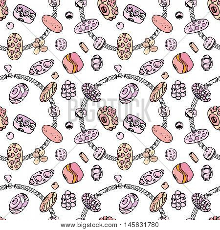 Seamless jewellery pattern with bracelets with charms, beads, gems. Endless texture, white, black, pink and yellow color.