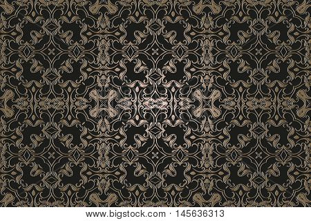 abstract vintage retro decor on a dark background of the elements of the pattern renaissance era of Baroque