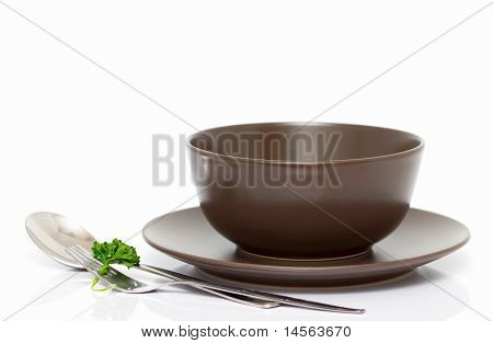 Plate, Bowl, Spoon And Fork