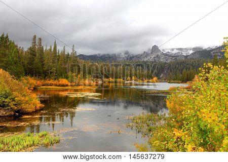 Lake Mamie landscape on a rainy day in California near Mammoth lakes