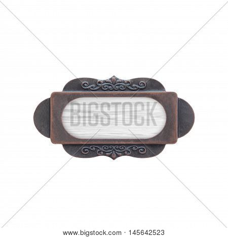 wood texture background plate with metal frame on white background