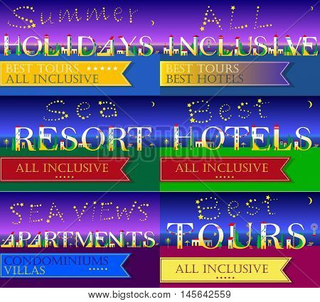 Cards for travel buisness. Summer holidays. All inclusive. Sea resort. Sea views apartments. Best tours. Best hotels. White houses on the night beach. Stars in the sky. Vector Illustration.